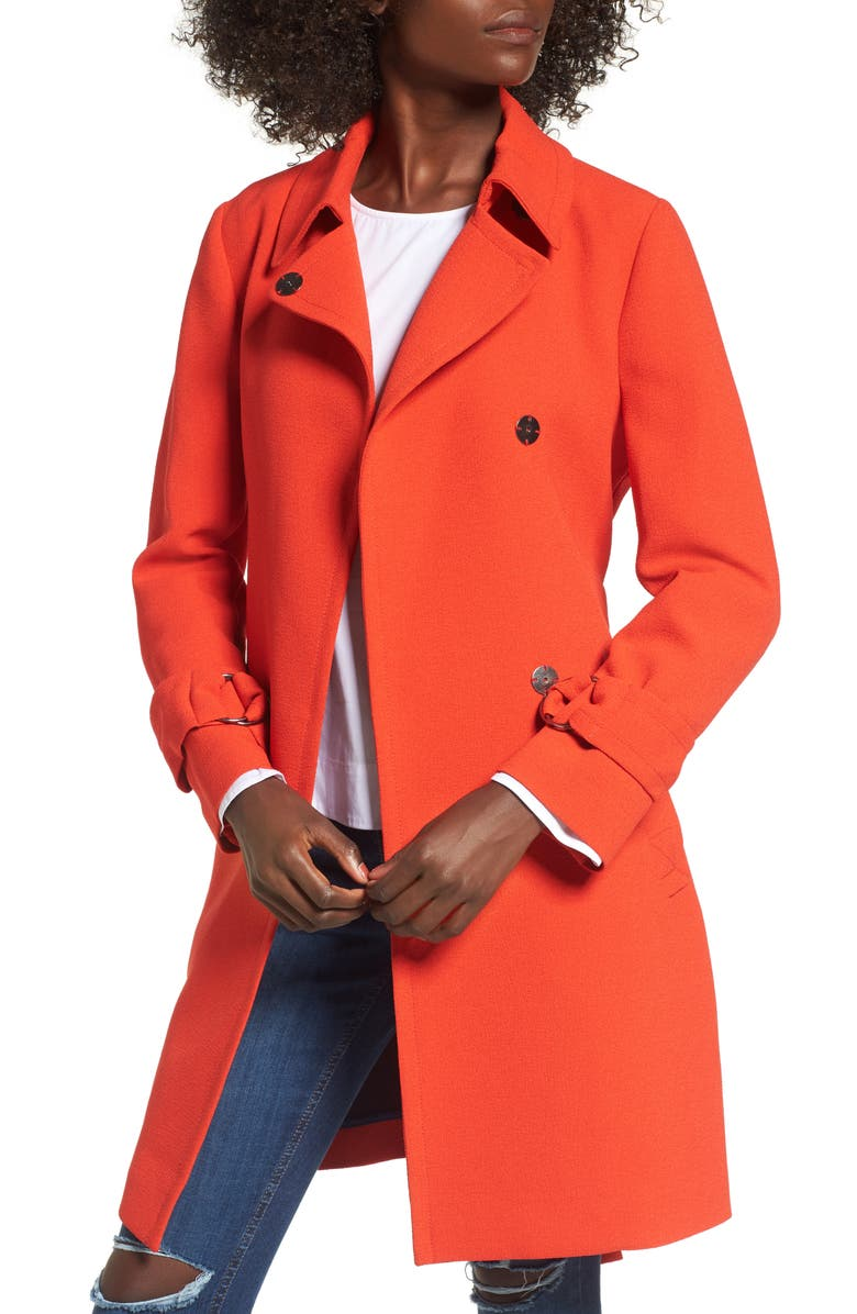 TOPSHOP Daisy Crepe Truster Trench Coat, Main, color, 600
