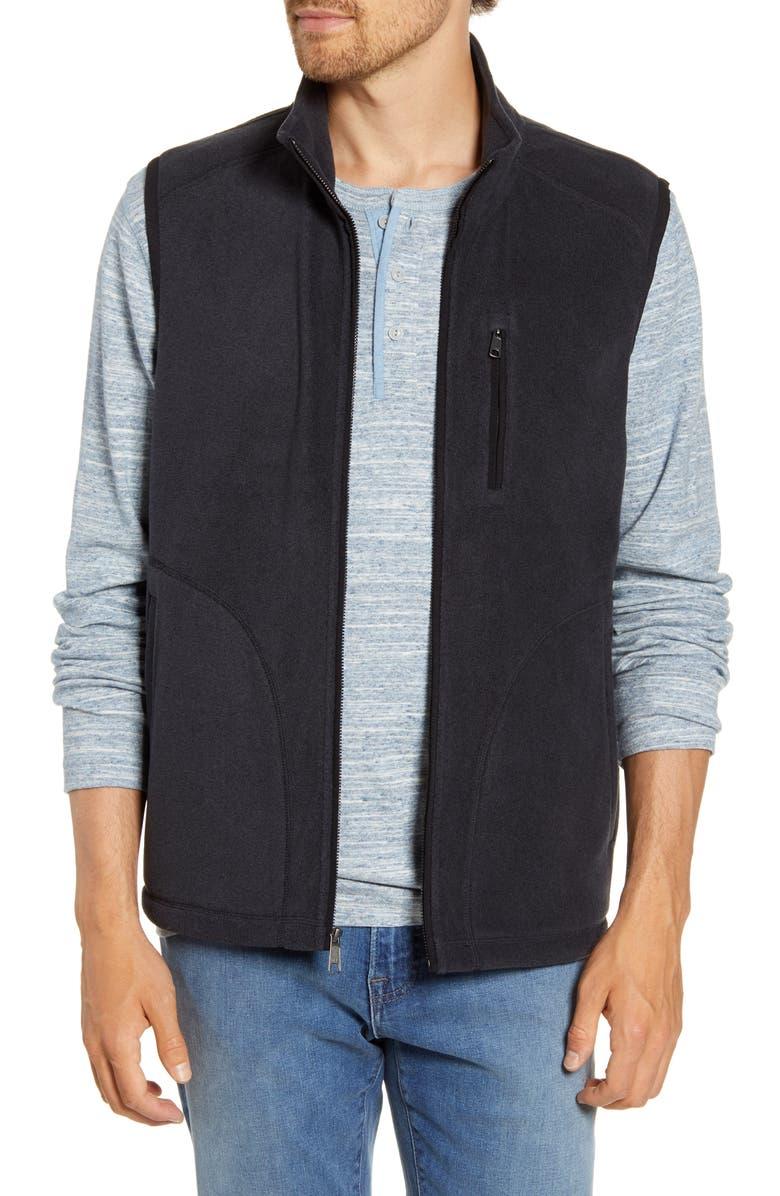 NORDSTROM MEN'S SHOP Polar Fleece Vest, Main, color, BLACK CAVIAR