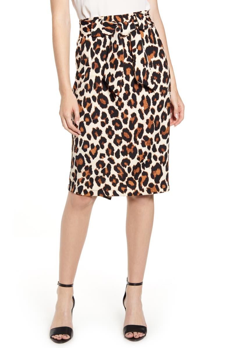 SENTIMENTAL NY Paperbag Waist Pencil Skirt, Main, color, BOLD CHEETAH