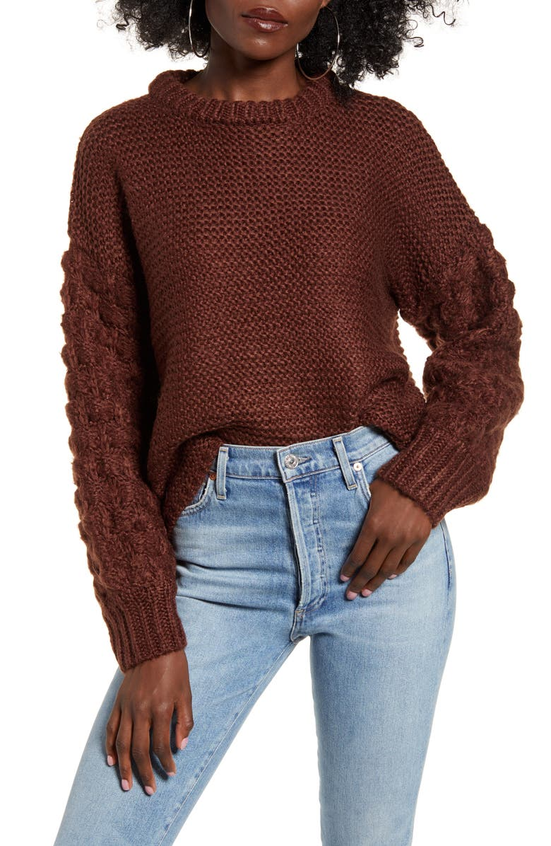 J.O.A. Pompom Sweater, Main, color, CHOCOLATE BROWN