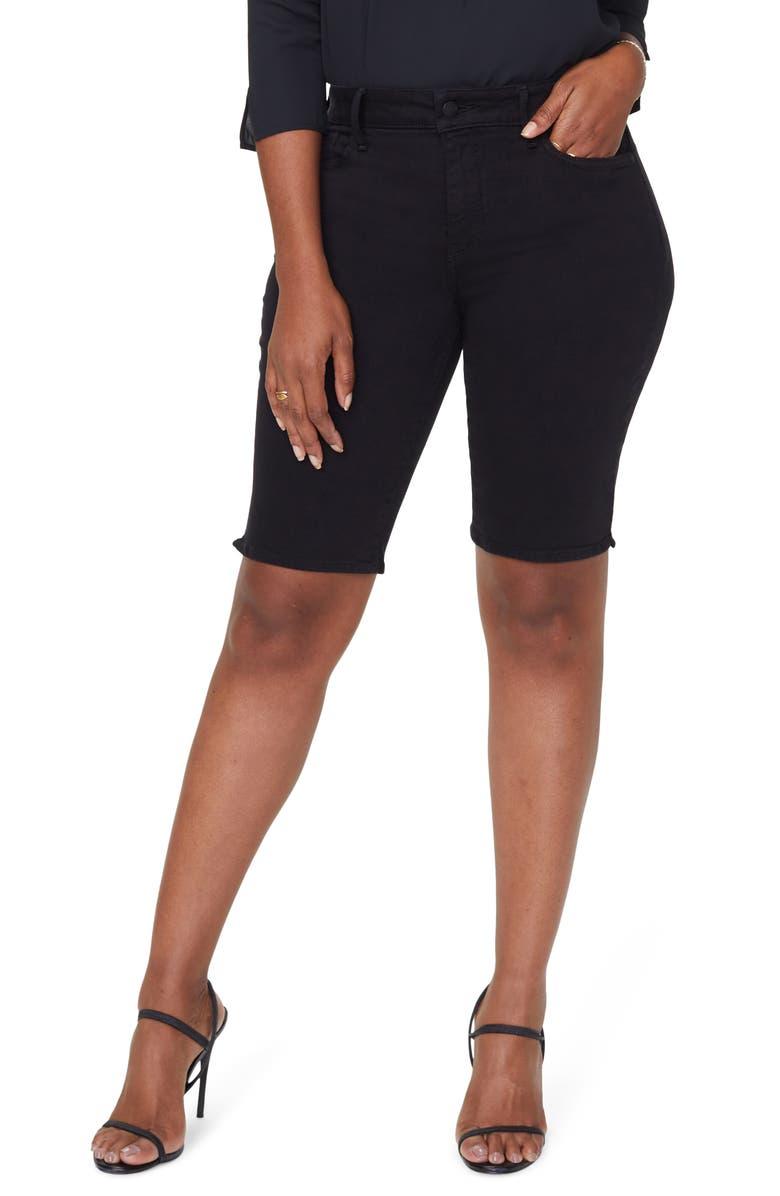 CURVES 360 BY NYDJ Side Slit Denim Shorts, Main, color, BLACK