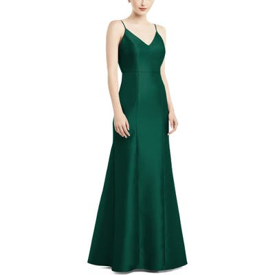 Alfred Sung Bow Back Satin Twill Trumpet Gown, Green