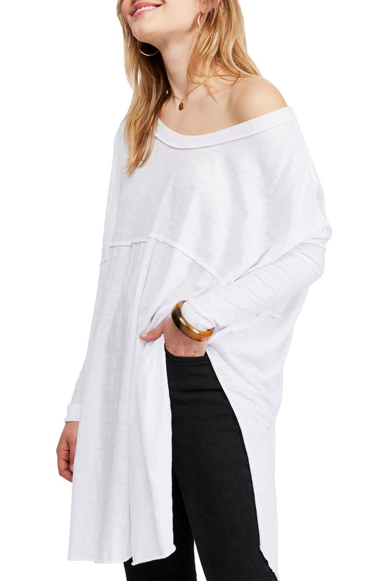 FREE PEOPLE Telltale Cotton Blend Tunic Top, Main, color, WHITE