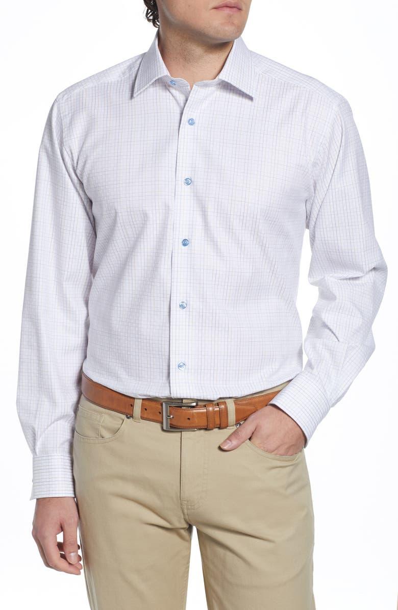DAVID DONAHUE Regular Fit Windowpane Dress Shirt, Main, color, WHITE/DUNE