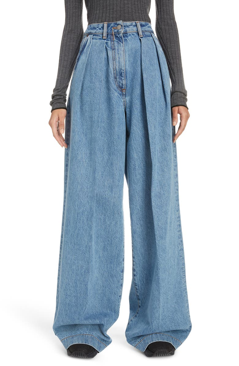 ACNE STUDIOS Pakita Pleated Wide Leg Jeans, Main, color, LIGHT BLUE