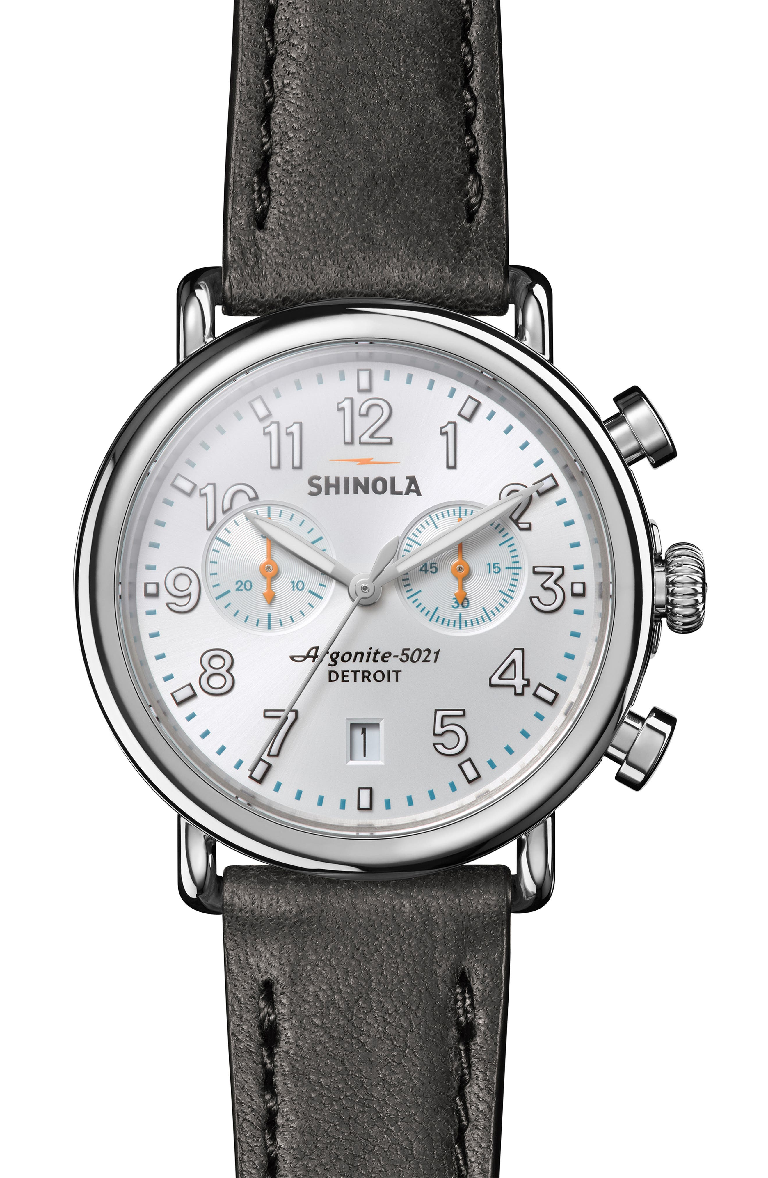 ,                             'The Runwell Chrono' Leather Strap Watch, 41mm,                             Main thumbnail 1, color,                             001