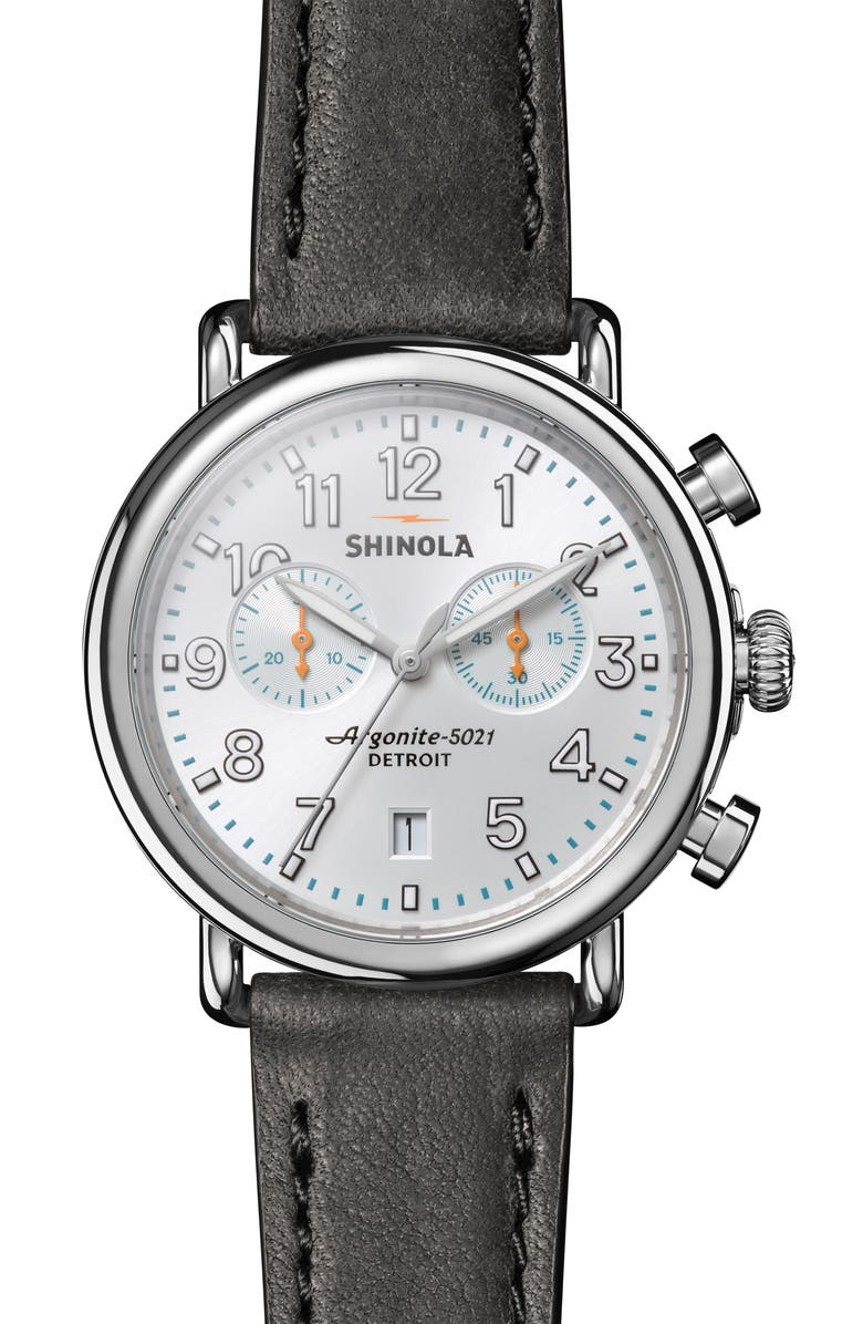 SHINOLA 'The Runwell Chrono' Leather Strap Watch, 41mm, Main, color, 001