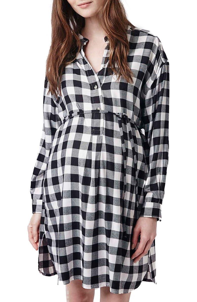 TOPSHOP Check Print Belted Maternity Shirtdress, Main, color, 020