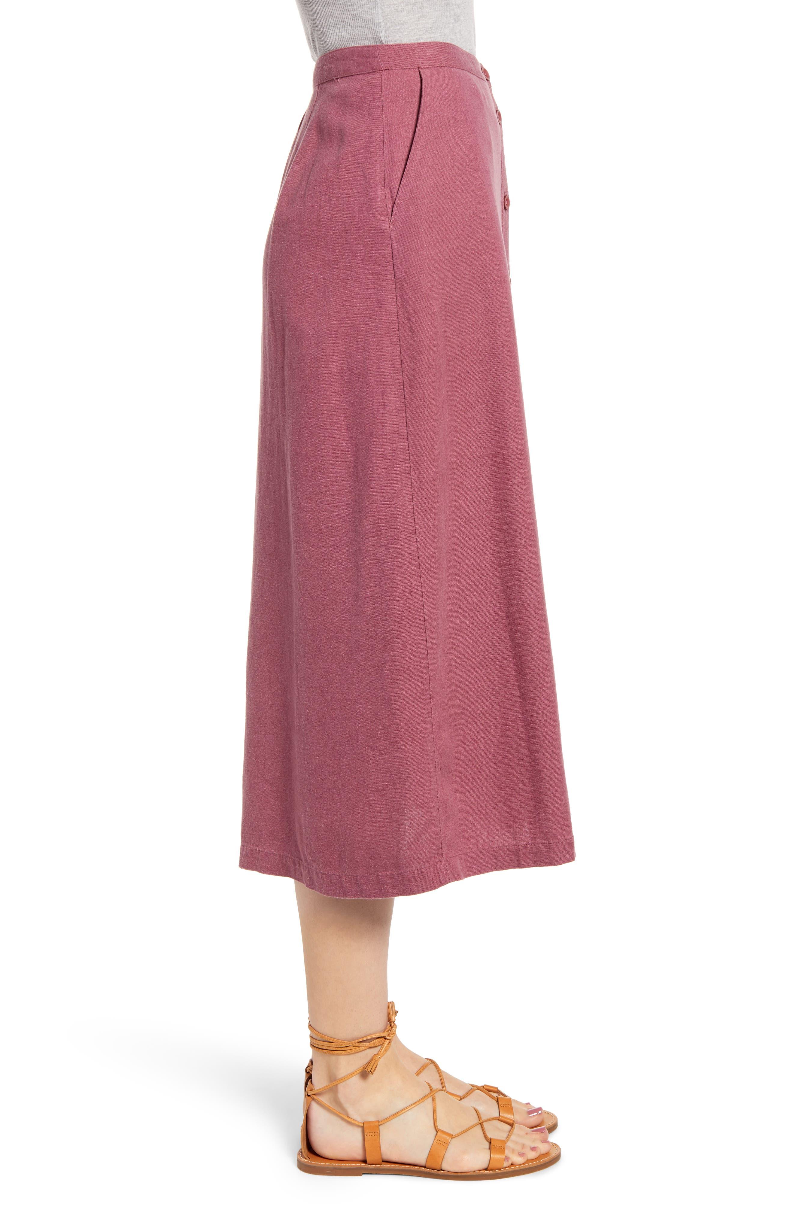,                             Button Front Linen Blend Midi Skirt,                             Alternate thumbnail 3, color,                             BURGUNDY CRUSH