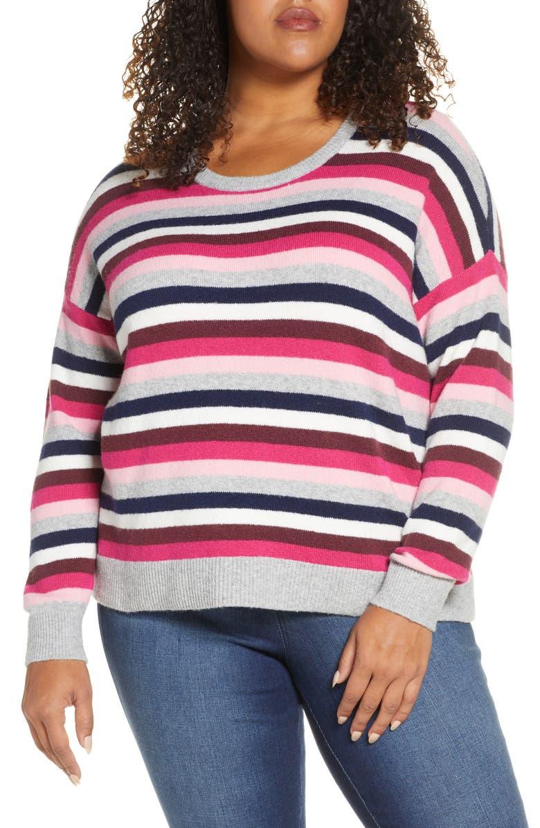 COURT & ROWE Multistripe Crewneck Sweater, Main, color, PNKOBSESSION