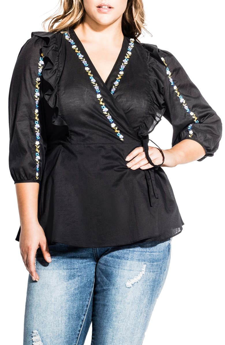 a9c00468d63e38 City Chic Be Free Embroidery & Ruffle Cotton Wrap Blouse (Plus Size ...