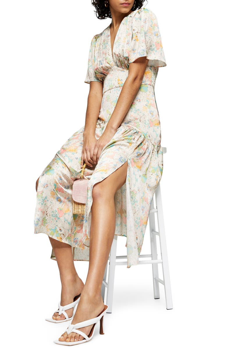 TOPSHOP Willow Floral Angel Sleeve Satin Midi Dress, Main, color, WHITE MULTI