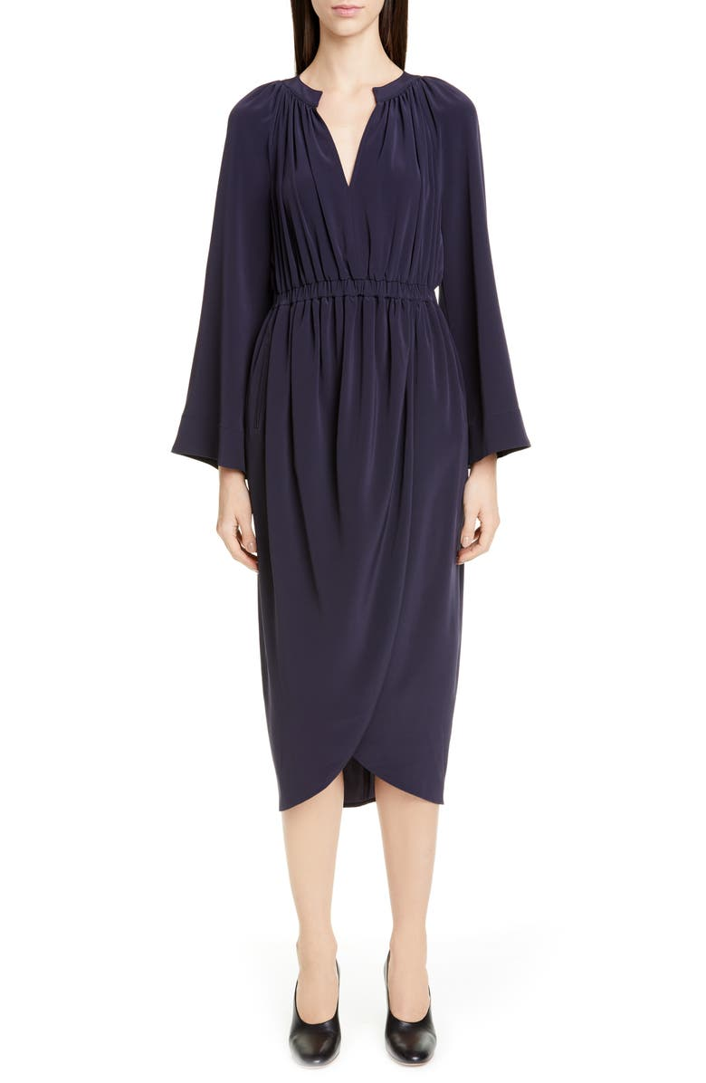 CO Bell Sleeve Tulip Skirt Long Sleeve Midi Dress, Main, color, NAVY