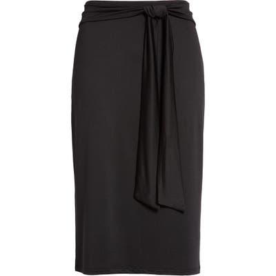 Halogen Tie Front Knit Skirt, Black
