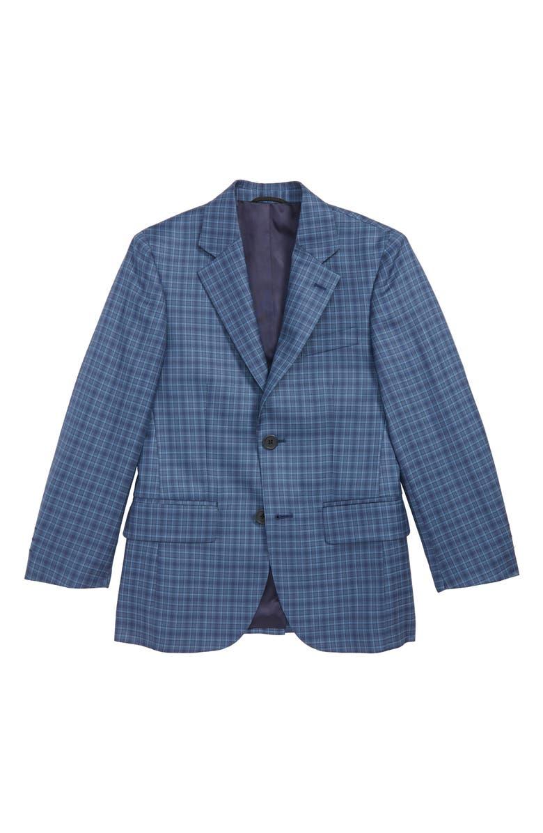 JB JR Plaid Wool & Silk Sport Coat, Main, color, BLUE