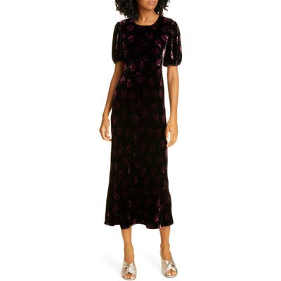 Rixo Daisy Velvet Midi Dress, US / 6 UK - Black