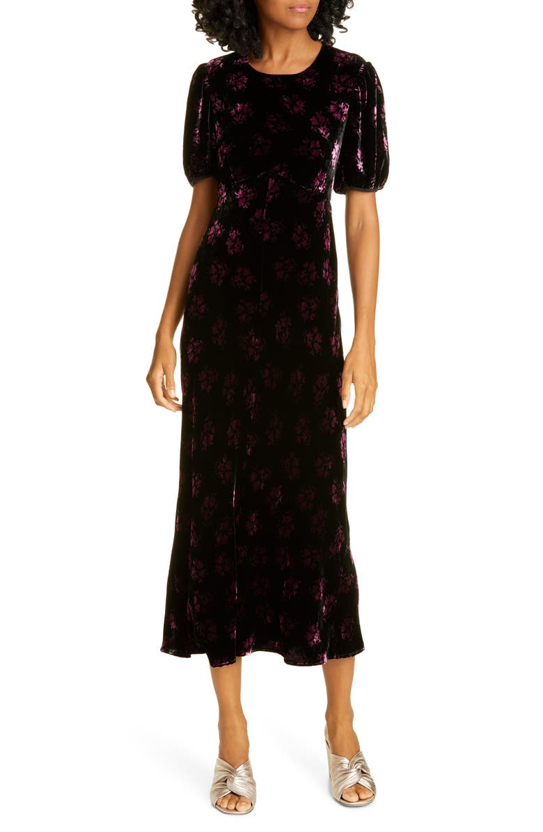 RIXO Daisy Velvet Midi Dress, Main, color, BUNCH SHADOW FLORAL