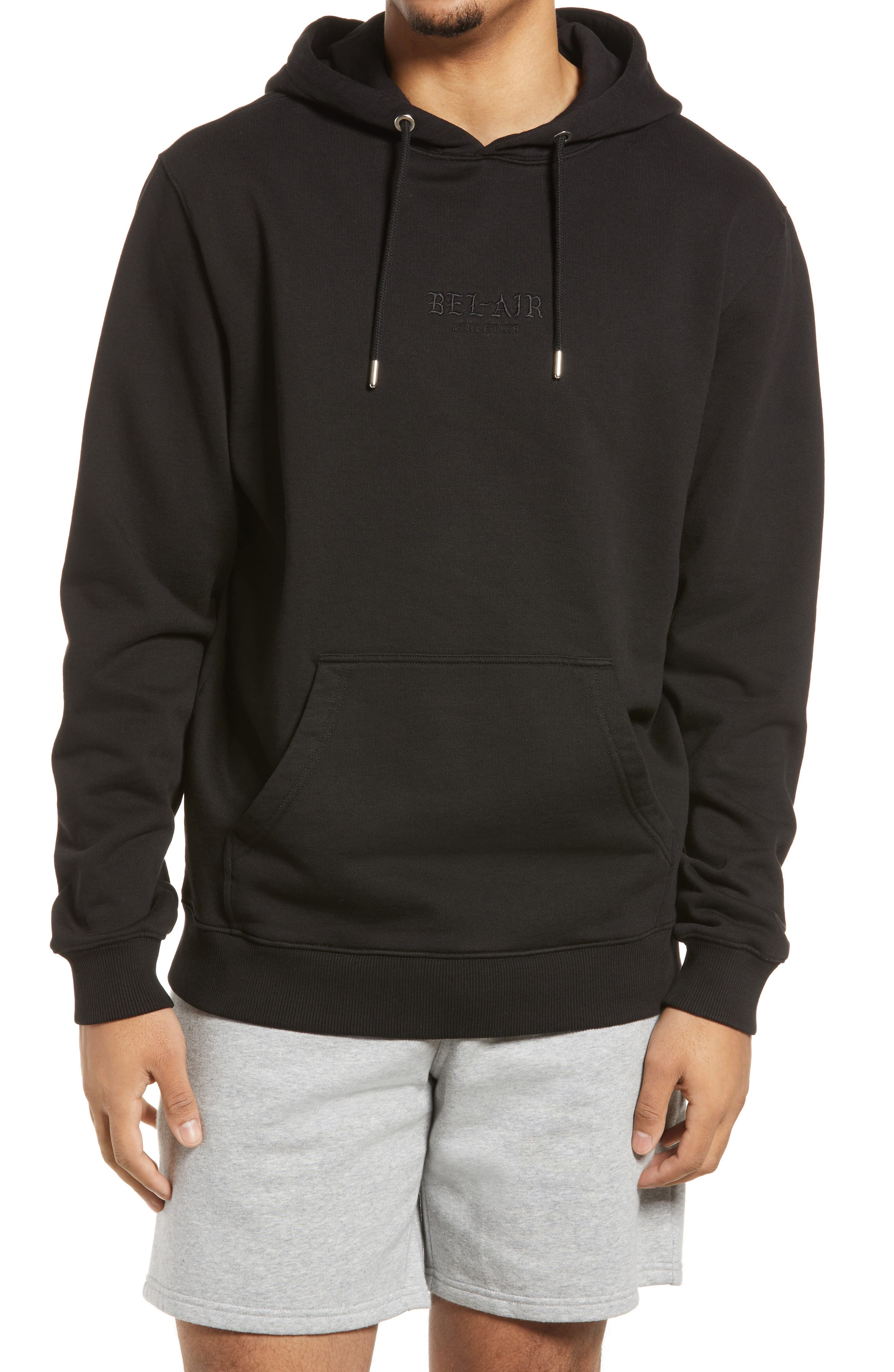 Men's Gothic Font Logo Embroidered Hoodie