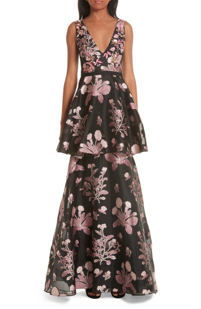 MARCHESA NOTTE Embellished Jacquard Evening Dress, Main, color, 001