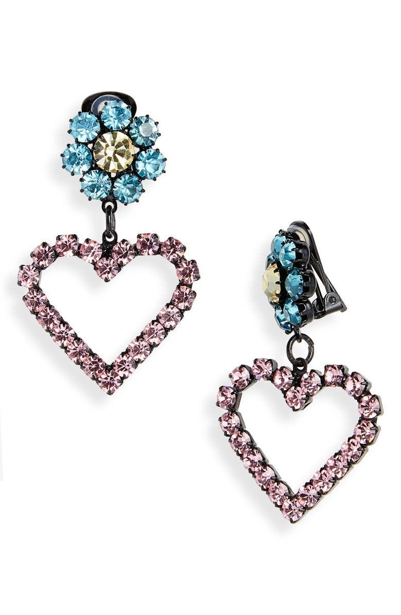 ASHLEY WILLIAMS Lil Heart Crystal Clip-On Earrings, Main, color, 650