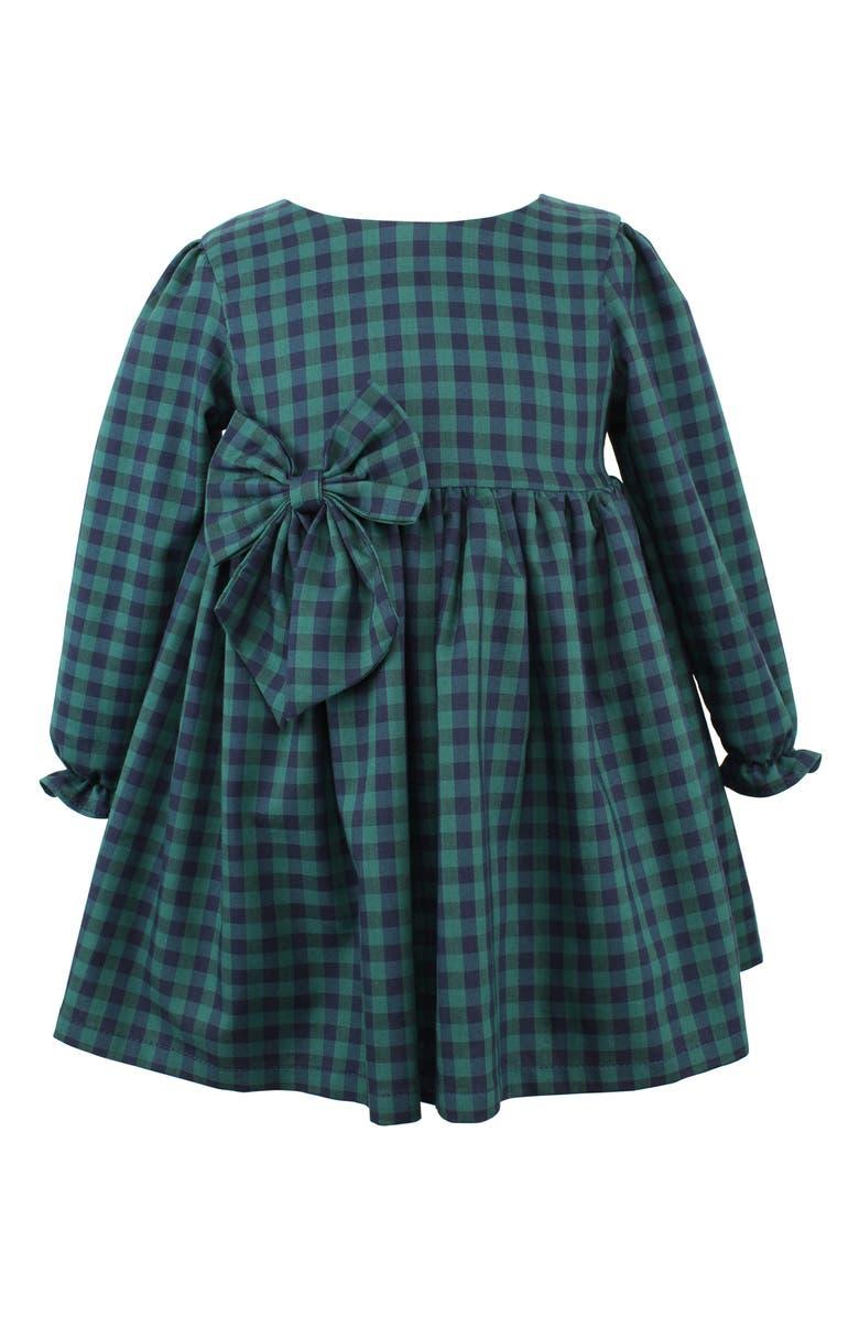 POPATU Check Long Sleeve Dress, Main, color, NAVY/ GREEN