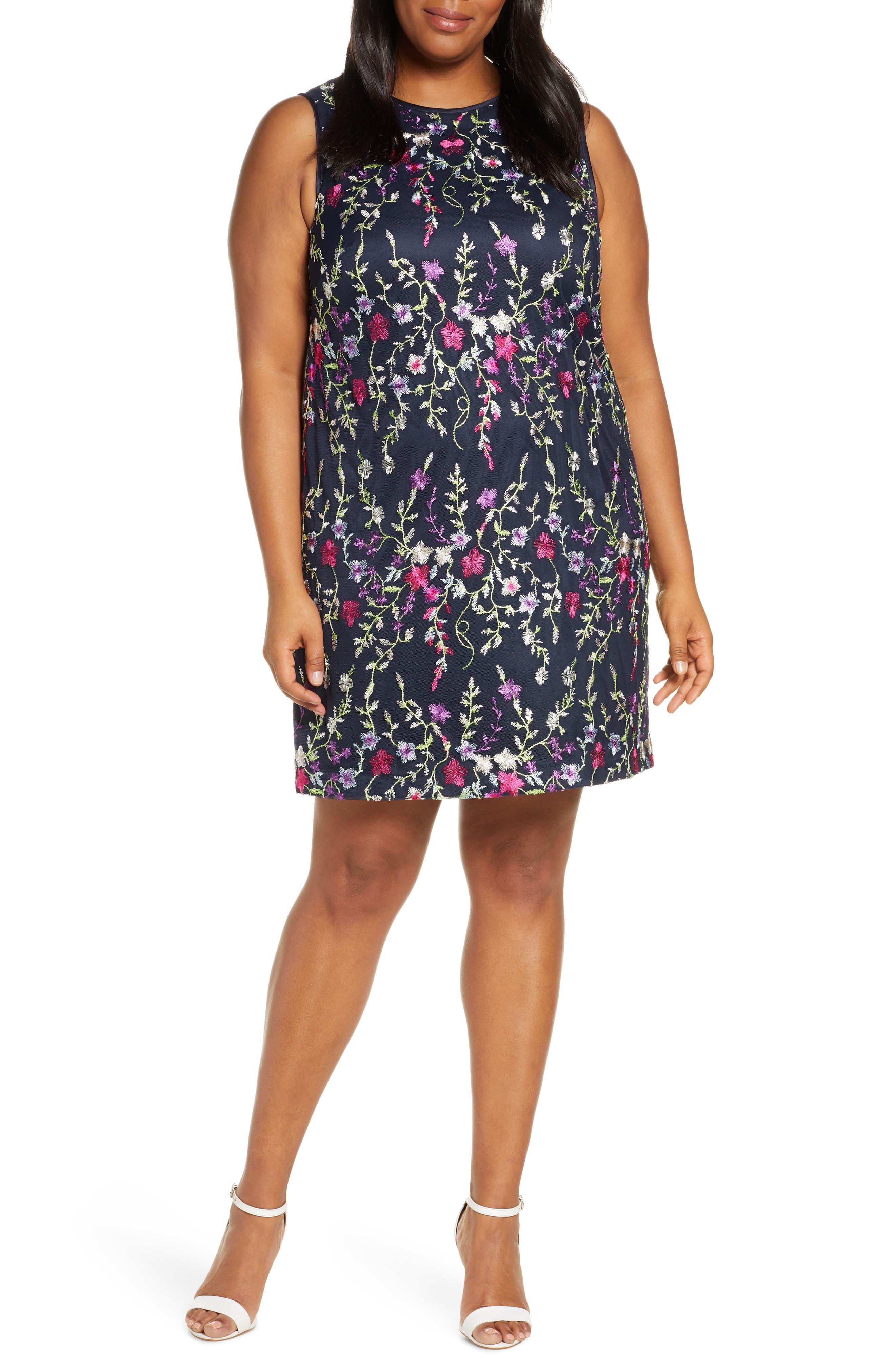Plus Size Eliza J Embroidered Mesh Sheath Dress, Blue