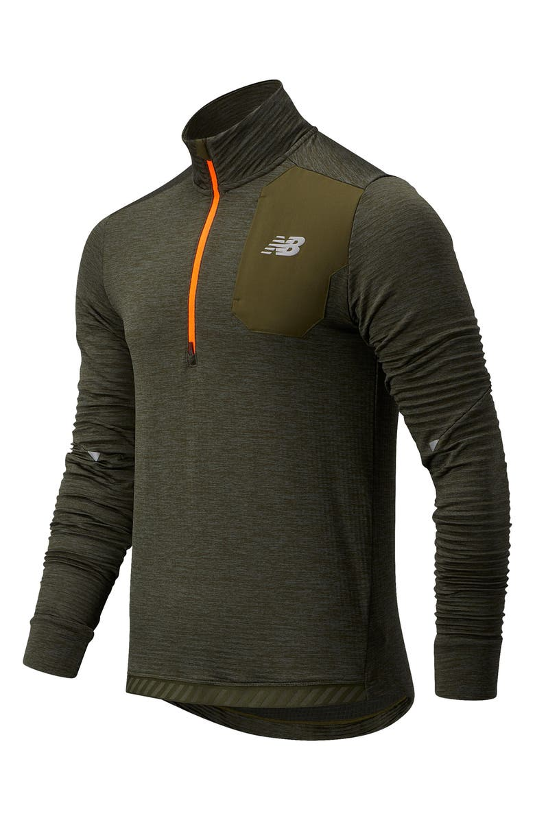 NEW BALANCE Run Heat Grid Men's Half Zip Performance Pullover, Main, color, OAK LEAF GREEN HEATHER