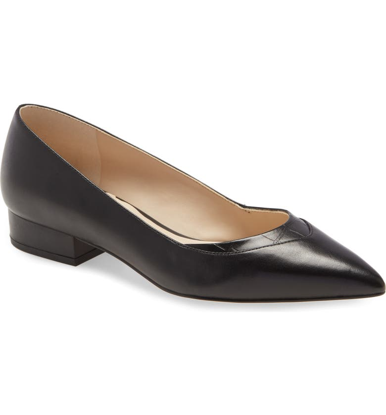 COLE HAAN Vail Pointed Toe Skimmer Flat, Main, color, BLACK LEATHER
