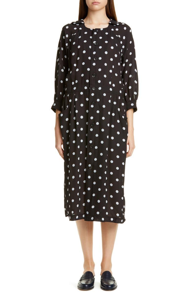 COMME DES GARÇONS Polka Dot Georgette Button Front Dress, Main, color, 001