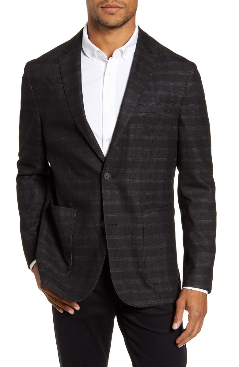 VINCE CAMUTO Regular Fit Plaid Wool Blend Sport Coat, Main, color, CHARCOAL PLAID GRIT