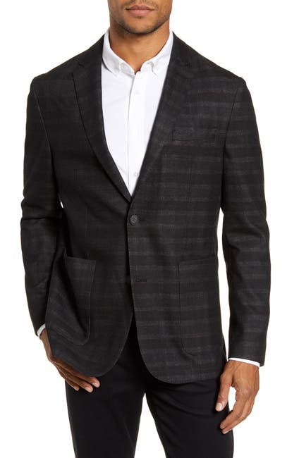 Image of Vince Camuto Del'Aria Black Plaid Two Button Notch Lapel Jacket