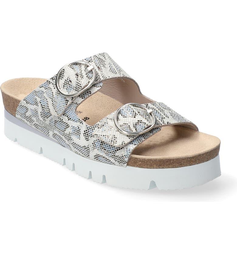 MEPHISTO Vandy Slide Sandal, Main, color, NAVY PRINTED LEATHER