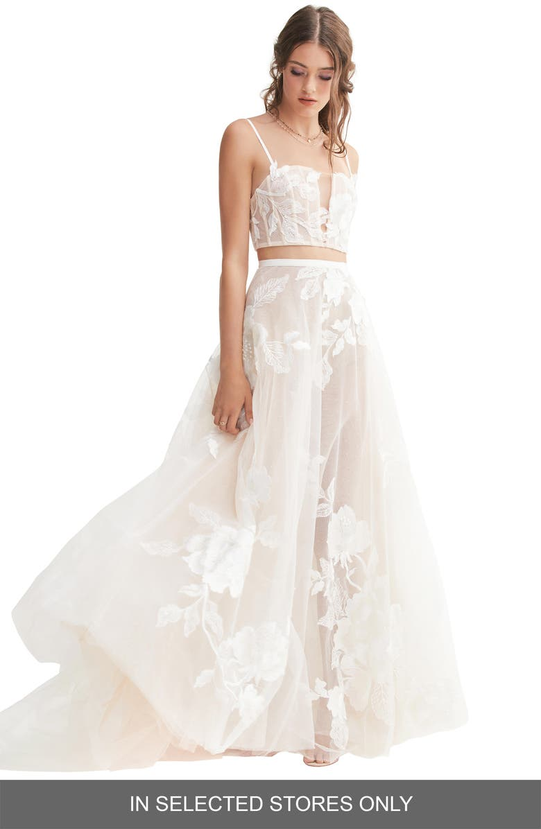 WILLOWBY Rai Lace & Tulle Skirt, Main, color, IVORY/ IVORY