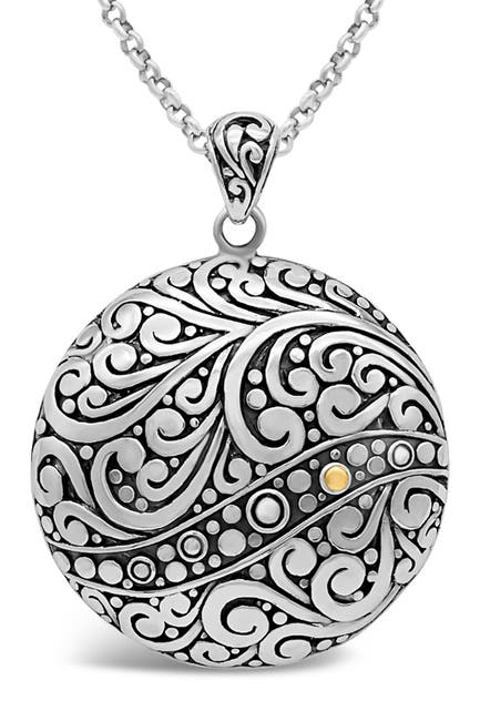 Image of DEVATA Sterling Silver & 18K Gold Round Filigree Pendant Necklace