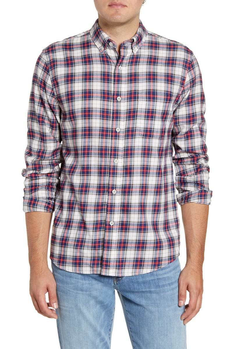FAHERTY Everyday Regular Fit Plaid Button-Down Sport Shirt, Main, color, INDIGO HERITAGE TARTAN