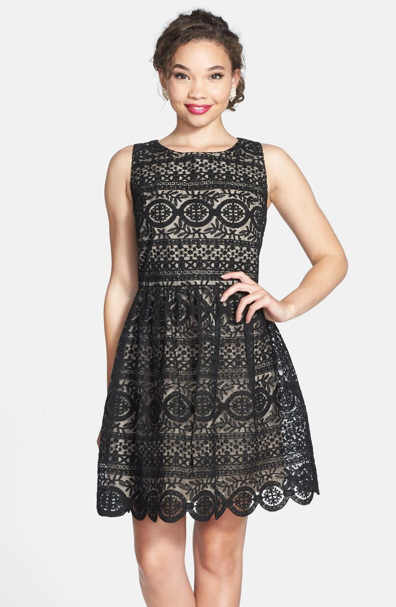 SOPRANO 'Fancy Lace' Skater Dress, Main, color, 001