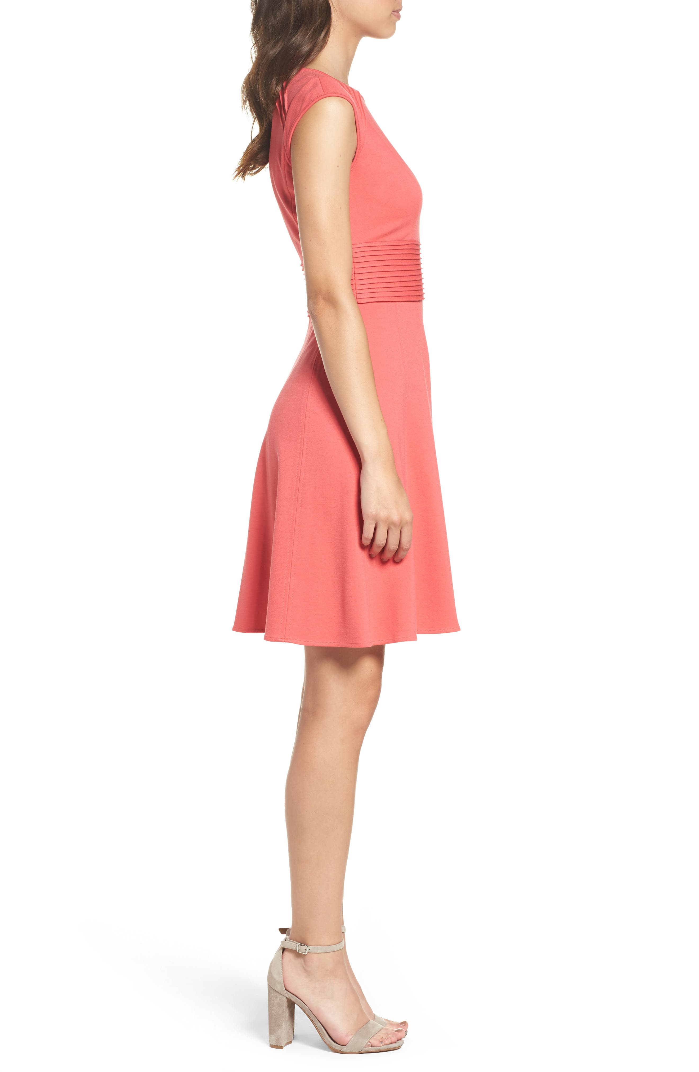 ,                             Pintucked Waist Seamed Ponte Knit Fit & Flare Dress,                             Alternate thumbnail 4, color,                             950