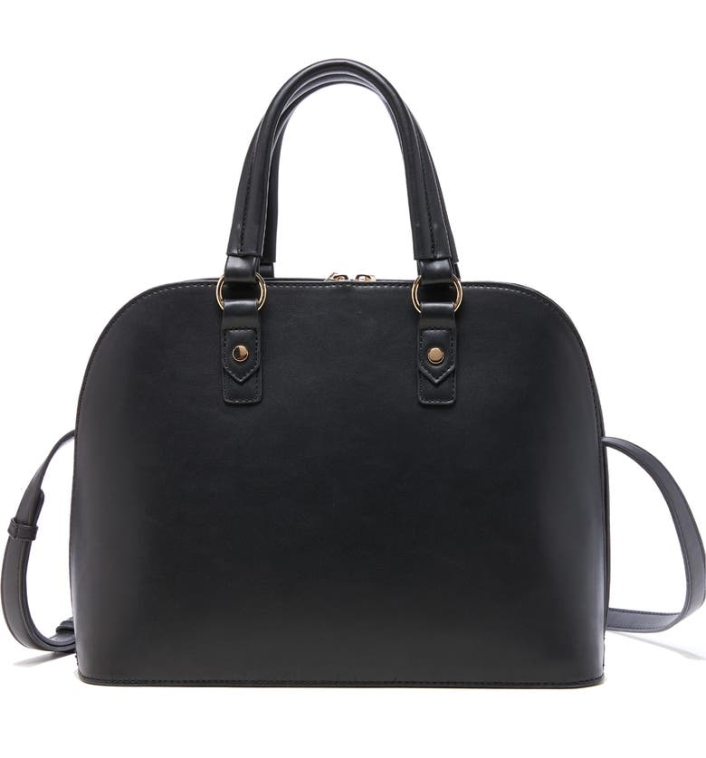 SOLE SOCIETY Faux Leather Satchel, Main, color, BLACK