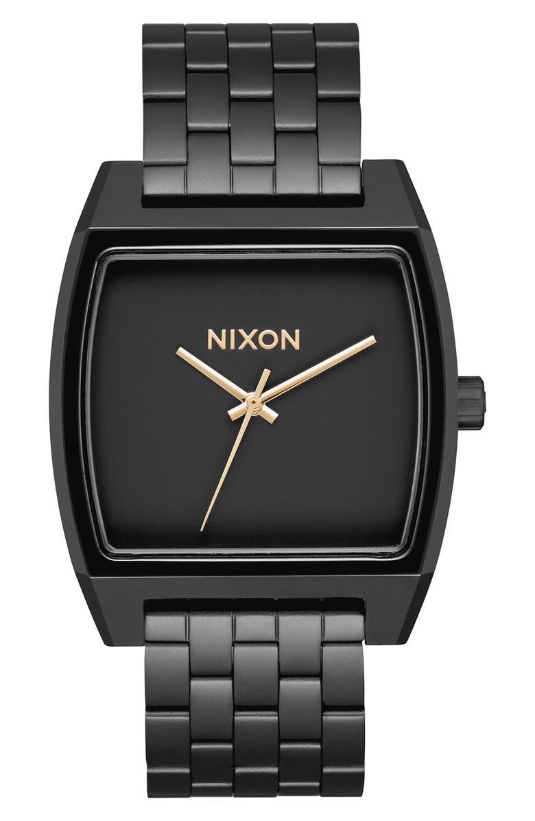 NIXON Time Tracker Bracelet Watch, 37mm, Main, color, BLACK/ GOLD/ BLACK