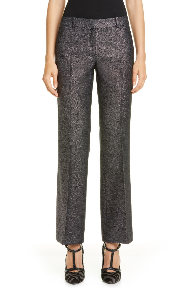 MICHAEL KORS COLLECTION Michael Kors Metallic Flare Leg Crop Trousers, Main, color, SILVER/ BLACK