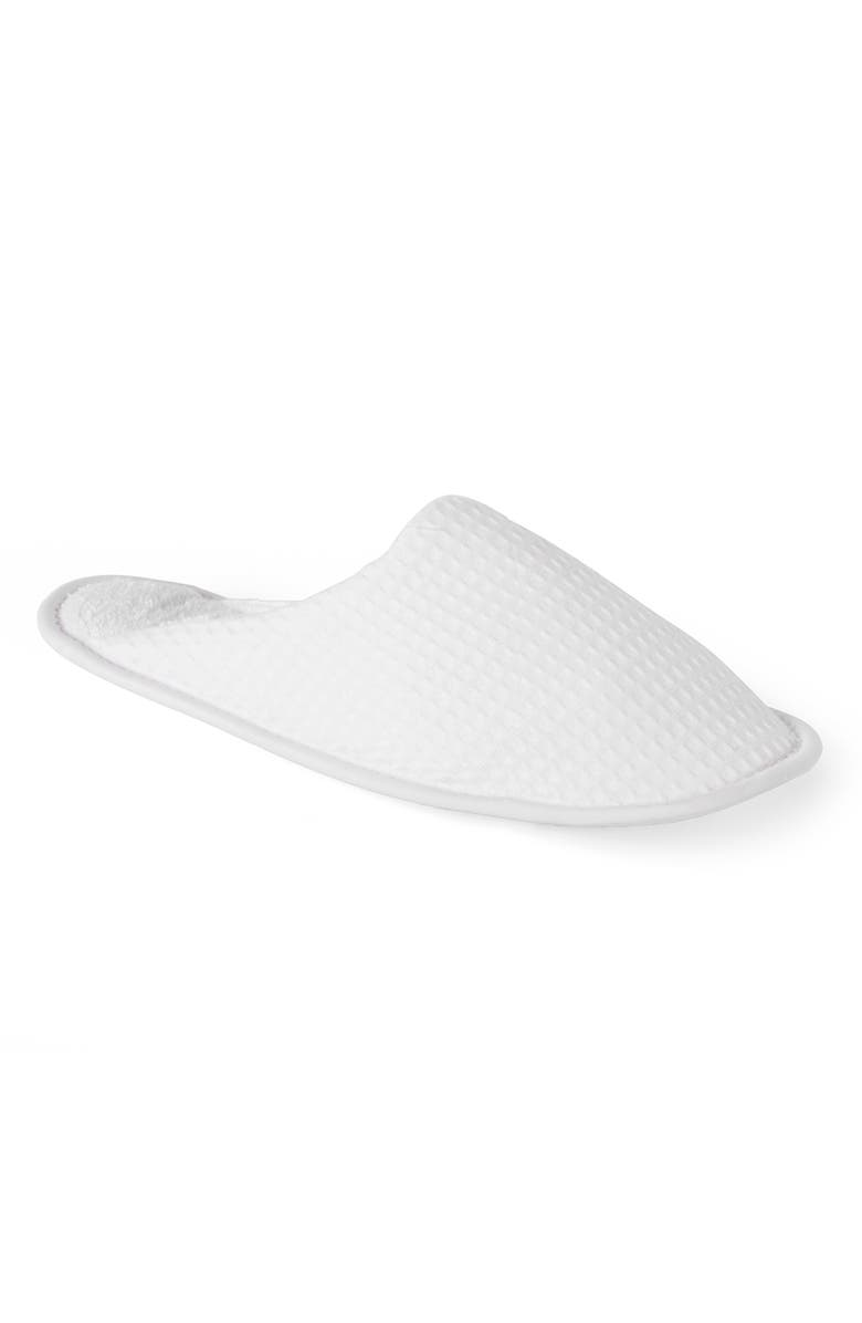 THE WHITE COMPANY Unisex Waffle Slipper, Main, color, WHITE
