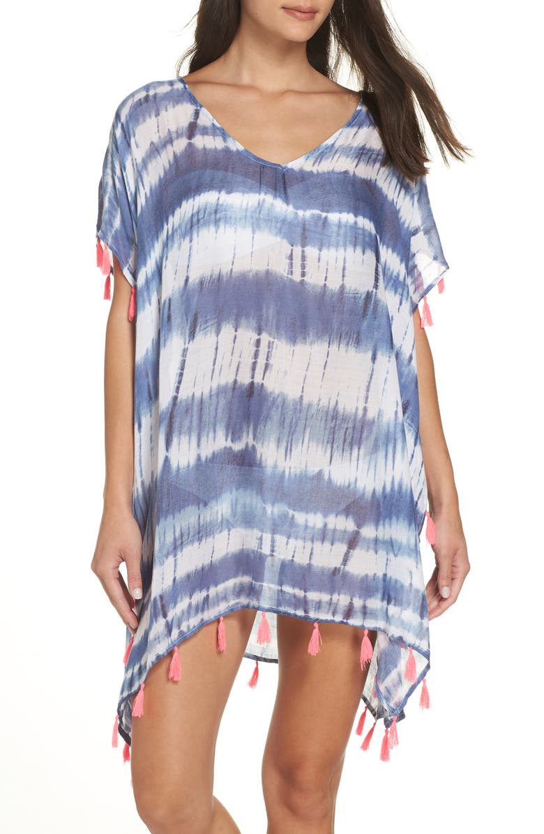 SURF GYPSY Stripe Tassel Cover-Up Poncho, Main, color, 411