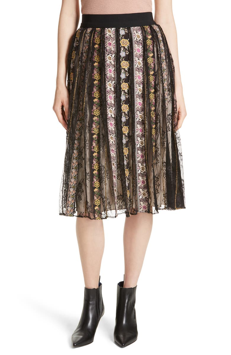 ALICE + OLIVIA Birdie Flower Embroidered Skirt, Main, color, 019