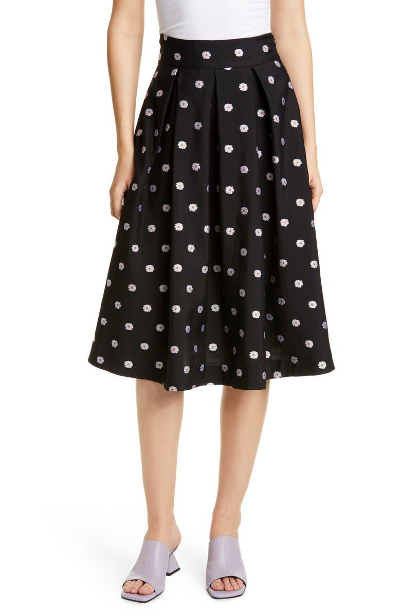 STINE GOYA Piper Daisy Pleat A-Line Skirt, Main, color, DAISY