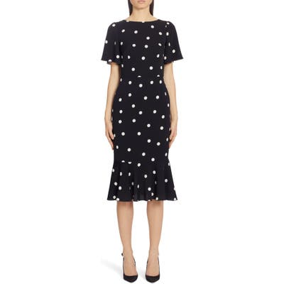 Dolce & gabbana Polka Dot Stretch Silk Charmeuse Dress, US / 44 IT - Black