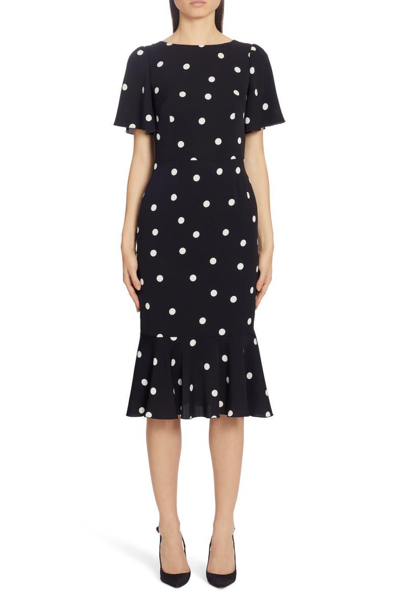DOLCE&GABBANA Polka Dot Stretch Silk Charmeuse Dress, Main, color, DOT