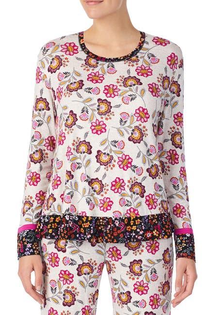 Image of Kensie Oat Print Long Sleeve Ruffle Pajama Top