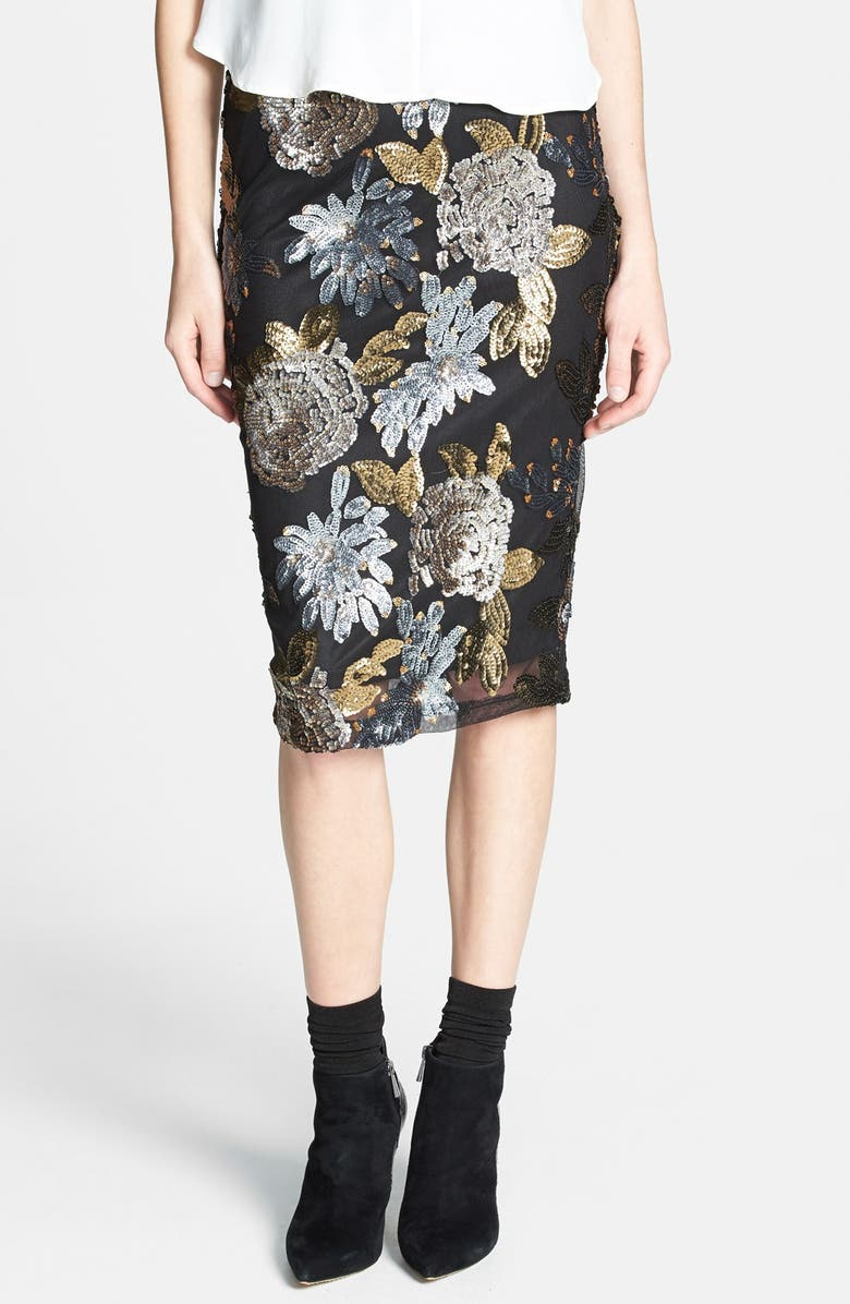 J.O.A. JOA Floral Sequin Body-Con Skirt, Main, color, 001