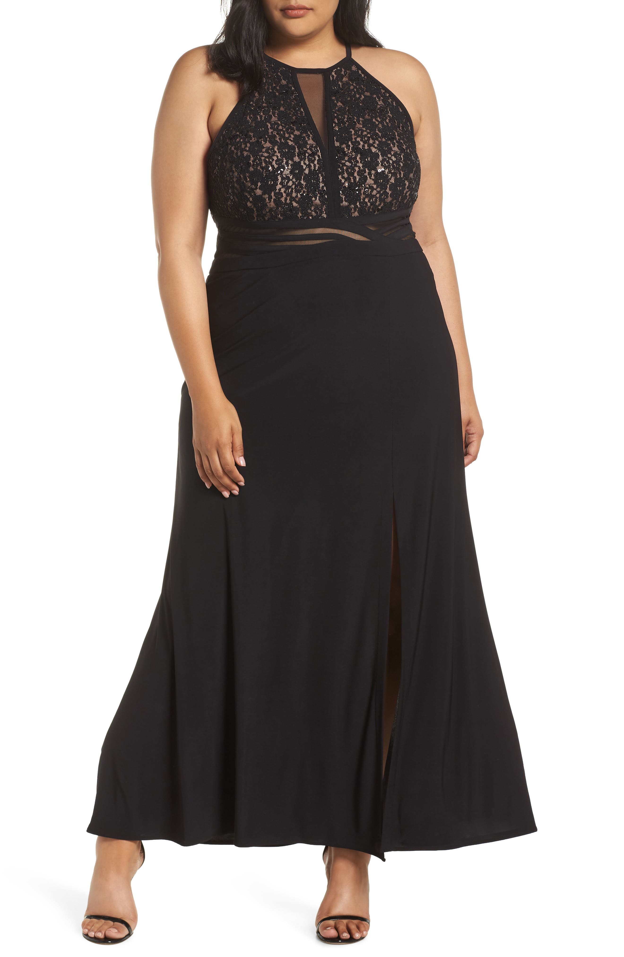 ,                             Illusion Inset Lace Bodice Gown,                             Main thumbnail 1, color,                             BLACK/ NUDE