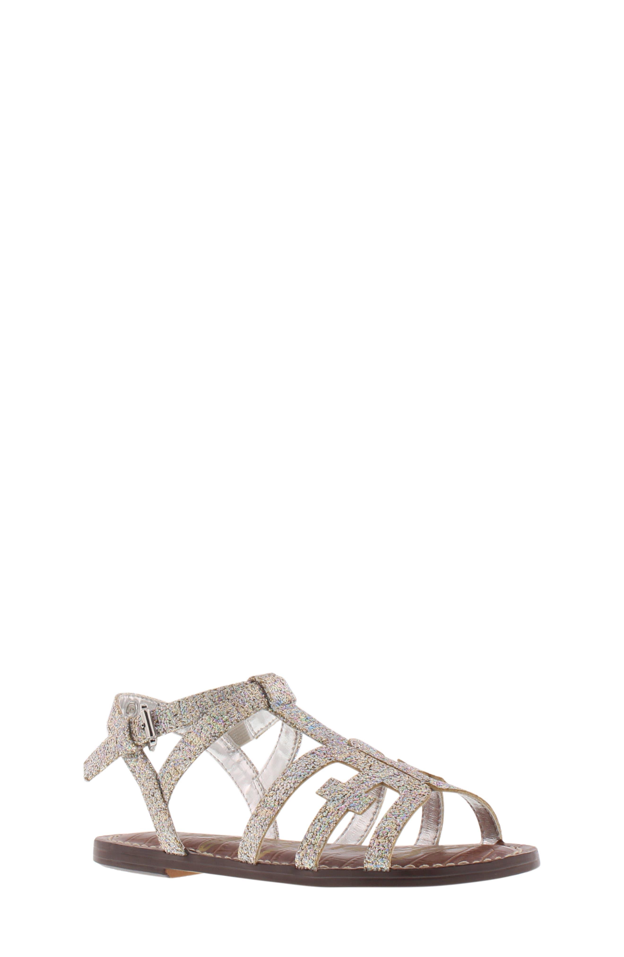 Girls Sam Edelman Gigi Cara Glitter Sandal Size 3 M  Metallic